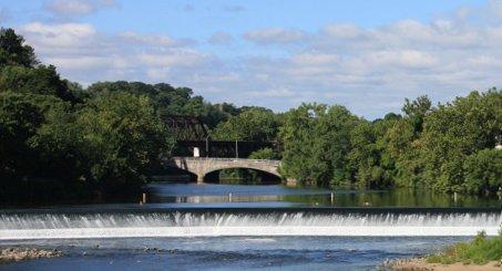 Lehigh River Falls Easton, PA view from Twin Rivers Tubing