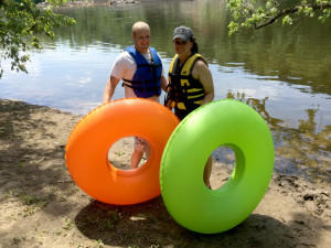 Couple ready for tubing on the Delaware River