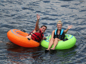 couple tubing on the Delaware River at Twin Rivers, Phillipsburg, NJ Easton, PA
